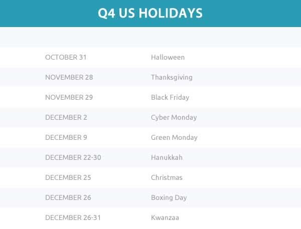 Q4 Holiday Calendar